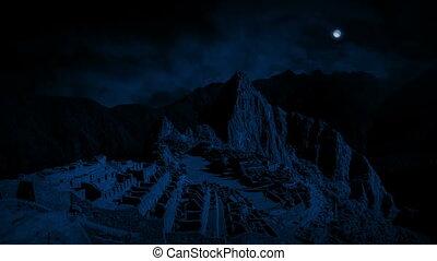 Machu Picchu Ancient Ruins At Night - The ancient ruins of...