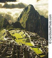 Machu-Picchu city in Peru - View on Machu-Picchu city in...