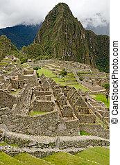 Machu Picchu, Peru - View over the ruins of the lost Inca...