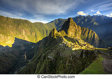 Machu Picchu - Scenic view of Machu Picchu in morning light....