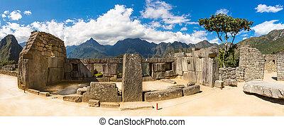 machu, ruins., 都市, パノラマ, ペルー, -, 例, polygonal, picchu,...