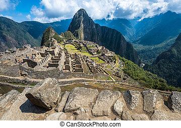 machu, sete, mundo, herança, um, local, picchu, UNESCO,...