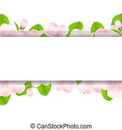 macieira, flores, com, papel