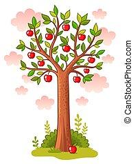macieira, plataformas, em, a, meadow.