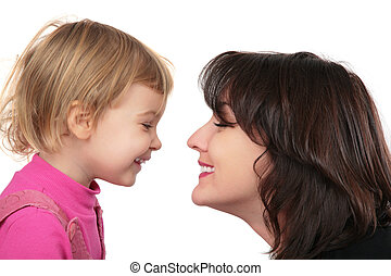 macierz, córka, twarz-oblicować