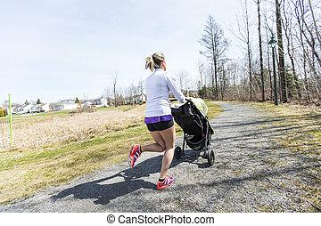 macierz, czyn, trening, jogging, z, niemowlę