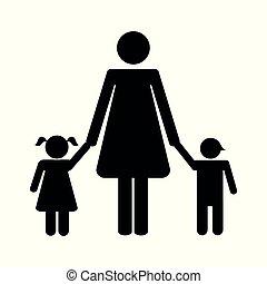 macierz, dzieci, dwa, piktogram