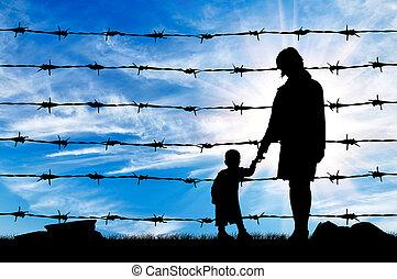 macierz, dziecko, refugees, głodny, sylwetka
