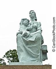 macierz i dziecko, statua, na, nagasaki, pokój, park, w, nagasaki, japonia