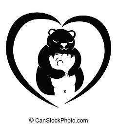 macierz, niedźwiedź, jej, dziecko