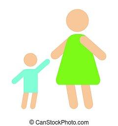 macierz, niemowlę, sylwetka, szczęśliwa rodzina, płaski, styl, i, związek, litery, styl życia, wektor