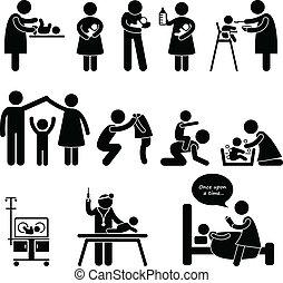 macierz, ojciec, niania, dziecko, niemowlę, troska