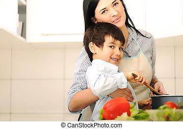 macierz, pora na posiłek, przygotowywać, razem, dzieci, mąka
