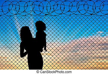 macierz, sylwetka, dziecko, refugees