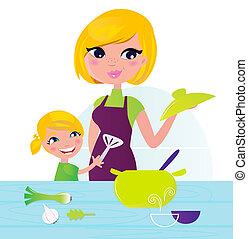 macierz, z dzieckiem, gotowanie, zdrowe jadło, w, kuchnia