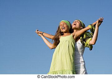 macierz, zdrowy, outdoors, dziecko grające, szczęśliwy