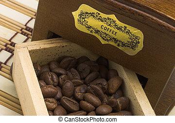 macinatore caffè, cassetto, con, fagioli