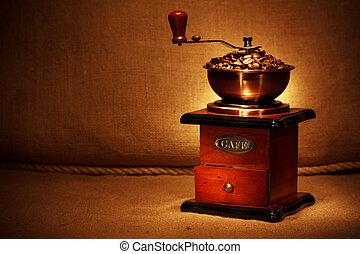 macinatore caffè, con, fagioli