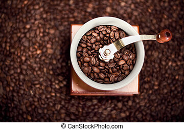macinatore caffè, con, fagioli caffè