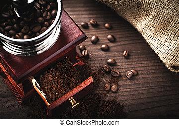 macinatore caffè, e, fagioli