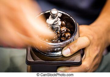 macinatore, con, fagioli caffè
