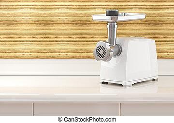 macinatore, elettrico, moderno, carne, interno, tavola, cucina, stanza
