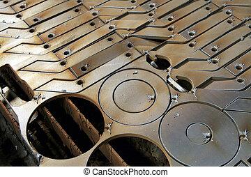 macinatura, tornio, dettaglio, acciaio