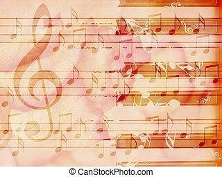macio, grunge, música, fundo, com, piano
