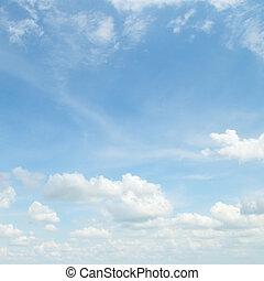 macio, nuvens, em, a, céu azul
