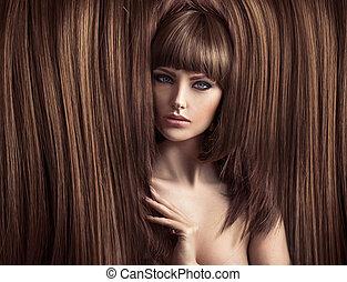 macio, senhora, sensual, coiffure