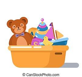 macio, urso teddy, e, galinha borracha, brinquedos, caixa