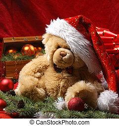 mackó, karácsony, töm, bájos, háttér, más