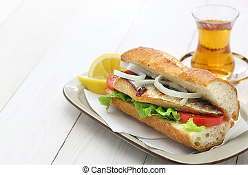 mackerel fish sandwich,turkish food