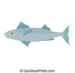 mackerel fish sea life design icon