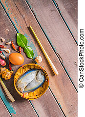 Mackerel on the wooden