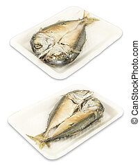 mackerel steamed in foam white tray isolated on white background