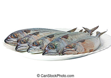 Mackerels on plate isolated on white