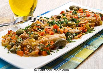 Mackerels with vegetables