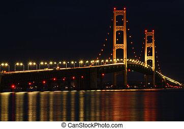 Mackinac Bridge Lit at Night