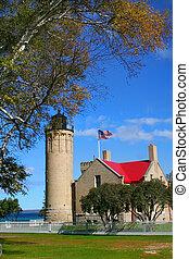 Mackinac Light House - Historic Mackinac Light house with ...