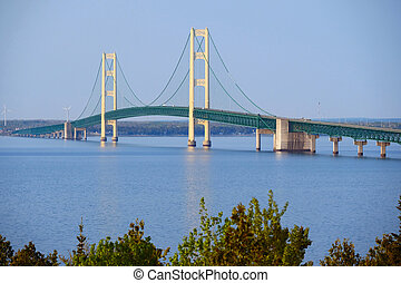 Mackinac suspension bridge at morning, built in 1957,...