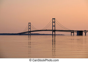 Mackinac suspension bridge at sunrise, built in 1957,...