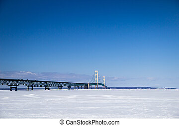 Mackinaw Bridge Winter