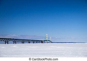 mackinaw, inverno, ponte
