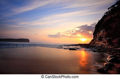 Macmasters Beach sunrise from ocean pool - Sunrise at...