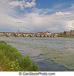 Macon Bridge - Old stone bridge over the Saone river at...