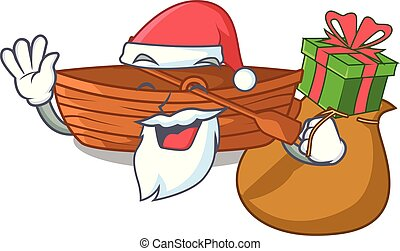 macot, cadeau, houten, naast, kerstman, strand, scheepje