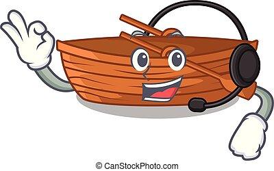 macot, houten, koptelefoon, naast, strand, scheepje