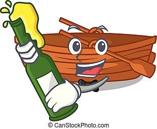 macot, houten, naast, bier, strand, scheepje