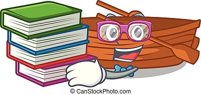 macot, houten, naast, boek, student, strand, scheepje